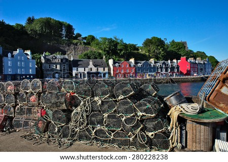 Tobermory is a fishing port in the Isle of Mull in the Scottish Inner Hebrides.  - stock photo