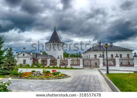 Tobolsk Kremlin courtyard tower panorama menacing sky hdr Russia Siberia Asia - stock photo
