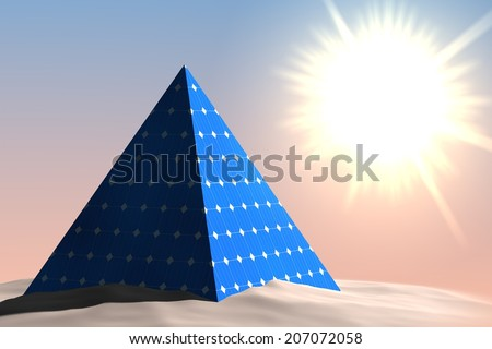 Today's pyramid could look like this, covered with solar panels - stock photo