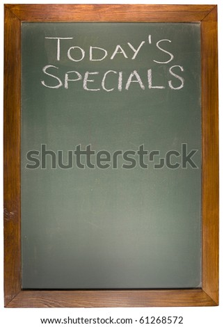 Today's Spacials copy space concept on blackboard
