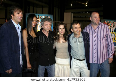 "Todd Zeile, Zoe Saldana, Lacey Chabert, David Kendall, and Dan Kaplow at the World premiere of ""Dirty Deeds"" held at the DGA Theatre in Hollywood, USA on August 24, 2005."