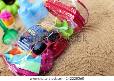 Toddler beach bag - stock photo