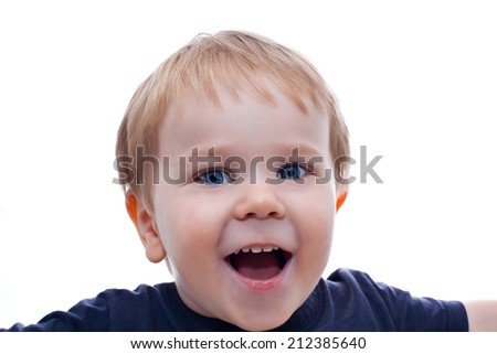 Toddler blond and blue eyes boy child with various facial expressions isolated on white