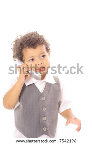 toddler child talking on cellphone