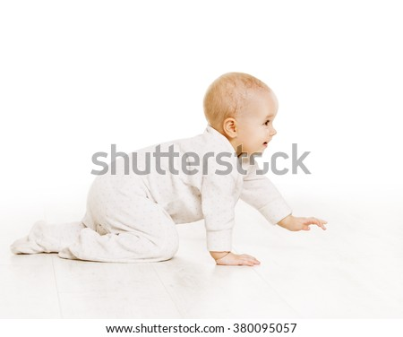Toddler Crawling in White Baby Onesie, Active Kid Creeping on all fours over White