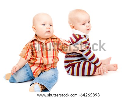 Toddler friends, isolated, over white
