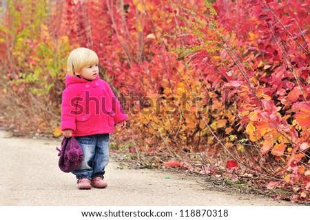 toddler girl walking along bright bushes - stock photo
