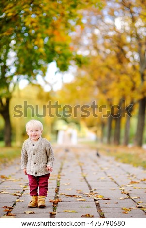Toddler having fun in autumn park. Little boy playing with autumn leaves