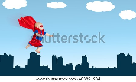 toddler little baby superhero with a red cape flying through sky above the city - stock photo