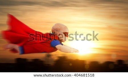 toddler little baby superhero with a red cape flying through sunset sky above the city - stock photo