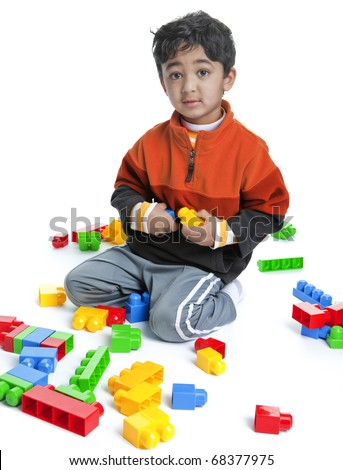 Toddler Playing with Blocks, Isolated, White - stock photo
