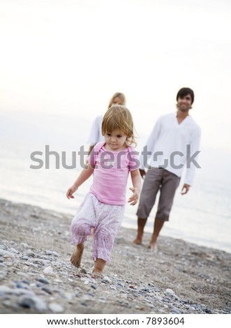 toddler running - stock photo