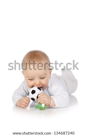 Toddler with a soccer ball - stock photo