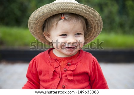 Toddler with hand , foot an mouth disease - stock photo