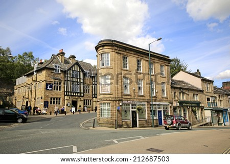 TODMORDEN, WEST YORKSHIRE - AUGUST 24, 2014: Buildings. Todmorden is a market town and civil parish in the Upper Calder Valley and 17 miles from Manchester.