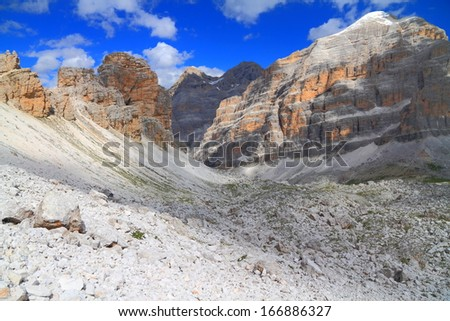 Tofana range above Travenanzes valley, Dolomite Alps, Italy