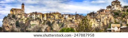 Toffia -hill top village ( beautiful villages of Italy series) - stock photo