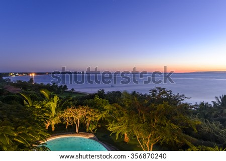 Tofo Beach in Vilankulo, Mozambique at sunrise. - stock photo