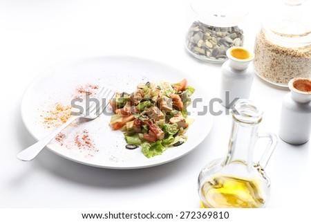Tofu and vegetables salad. Olive oil, spices, pumpkin and sesame seeds ...