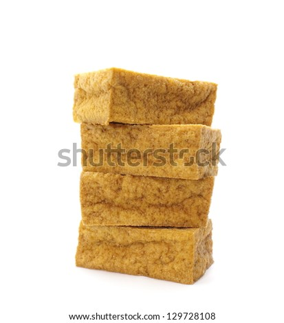 tofu blocks isolated on white - stock photo