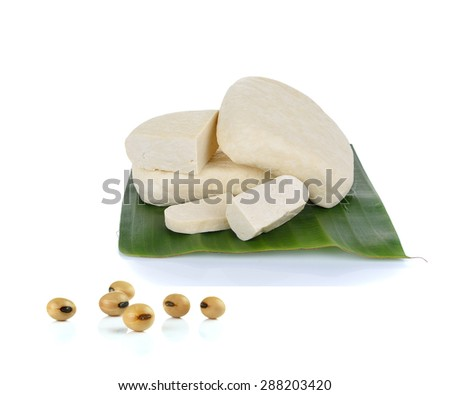 tofu cheese  and soy beans on white background - stock photo