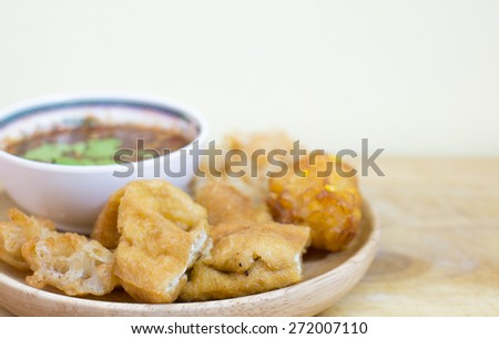 Tofu fried and crispy fried corn ball ,Vegetarian food, selection focus point