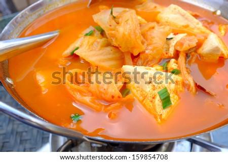 Tofu kimchi soup - stock photo