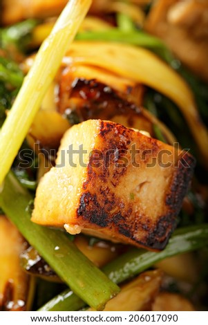 Tofu soy curd fryed with vegetables - stock photo