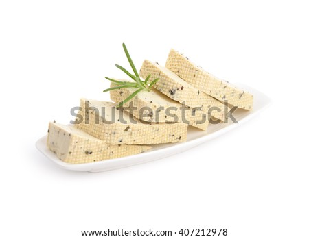 Tofu with Herbes de Provence. Isolated. - stock photo