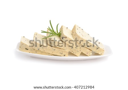 Tofu with Herbes de Provence.  Isolated on white background.   - stock photo