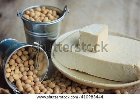 Tofu with soybean - stock photo