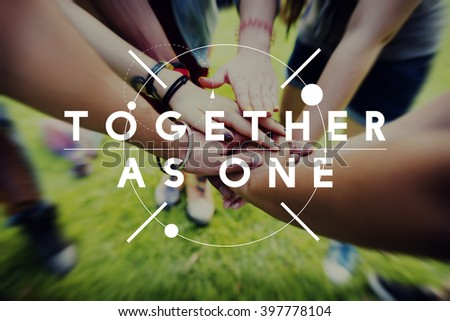 Together As One Collaboration Teamwork Concept - stock photo