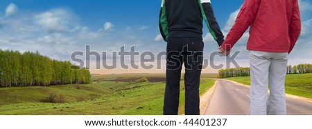 Together on road - stock photo