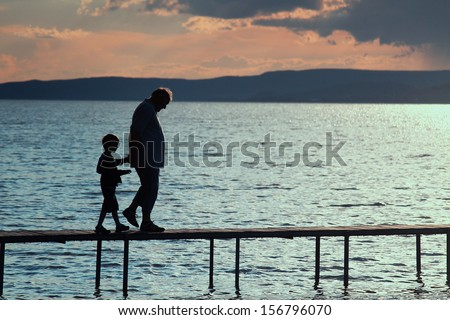 Together on the pier - stock photo