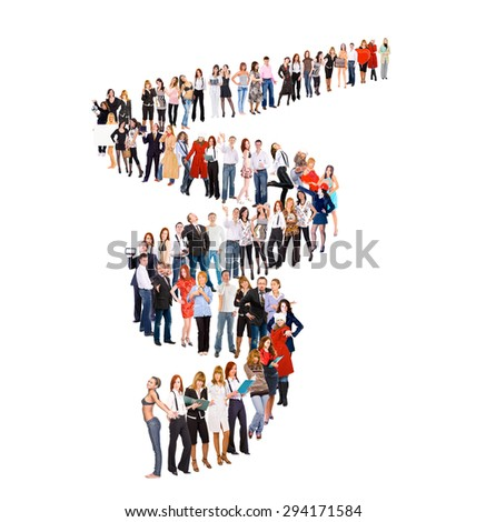 Together we Stand People in Queue  - stock photo