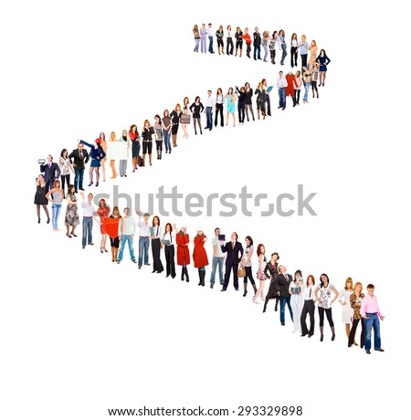 Together we Stand Very Long Line  - stock photo