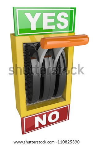 toggle switch with plate reading Yes and No - stock photo