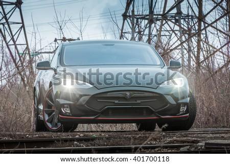 Togliatti - MARCH 24: TESLA Model S Electric Car with LARTE Design Tuning, on MARCH 24, 2016 in Togliatti, RUSSIA - stock photo