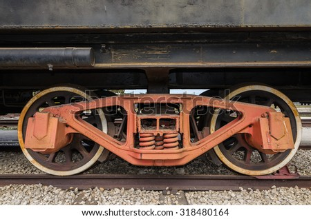 Togliatti, RUSIA - wheels of a steam engine locomotive - stock photo