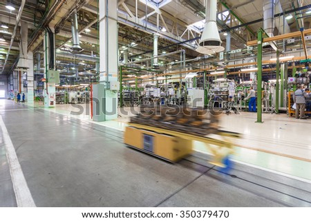 TOGLIATTI, RUSSIA - DECEMBER 10: Engine manufacturing in a car factory. Production of engines and transmissions in the workshop H-4 for LADA Cars in AVTOVAZ Factory on December 10, 2015 in Togliatti