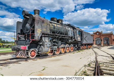 TOGLIATTI, RUSSIA - JULY 19, 2015: Steam engine locomotive ER type Eh2 builded at Voroshilovgrad, Brjanksk, 305 units 1934-1936, displayed at the AvtoVAZ Technical Museum in Togliatti, Samara, Russia