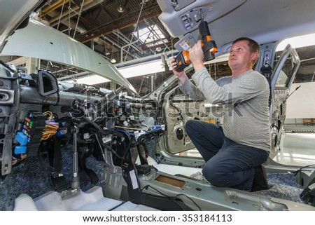 Togliatti, Samara region, Russia - June 26: Assembly line of LADA Cars B0 Platform in Automobile Factory AVTOVAZ - The Member of Alliance RENAULT-NISSAN-AVTOVAZ, on June 26, 2015 in Togliatti
