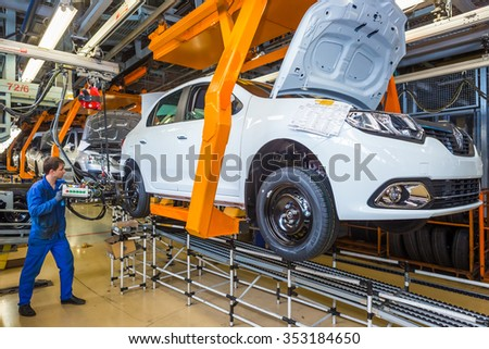 Togliatti, Samara region, Russia - June 09: Assembly line of LADA Cars B0 Platform in Automobile Factory AVTOVAZ - The Member of Alliance RENAULT-NISSAN-AVTOVAZ, on June 09, 2015 in Togliatti - stock photo