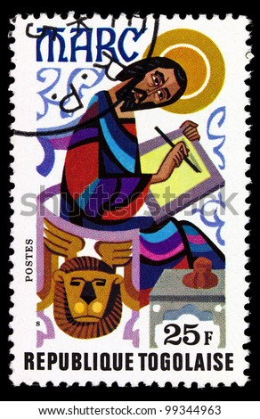 TOGO - CIRCA 1978: A post stamp printed in the Republic of Togo shows Mark the Evangelist, circa 1978