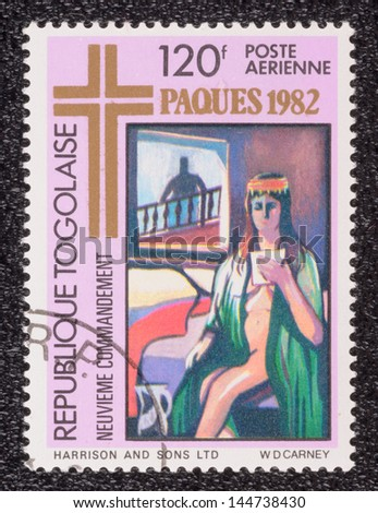 TOGO - CIRCA 1982: A stamp printed in the TOGO, shows an illustration of the religious theme, circa 1982
