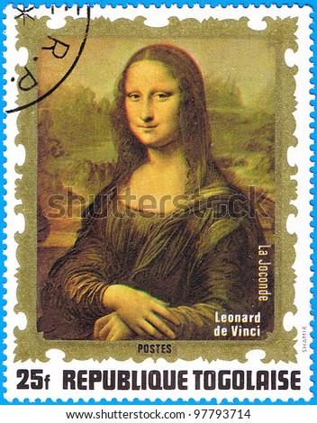 TOGO - CIRCA 1972: A stamp printed in Togo shows painting of Leonardo da Vinci - Mona Lisa, series, circa 1972 - stock photo