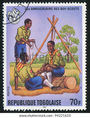 TOGO - CIRCA 1982: stamp printed by Togo, shows Pitching tent, circa 1982