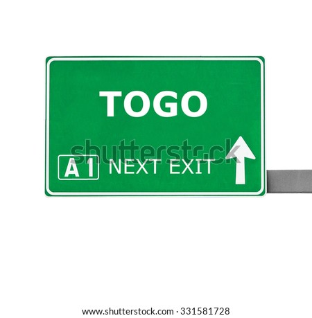 TOGO road sign isolated on white