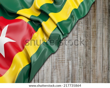 Togo Wavy Flag with vertical wood - stock photo