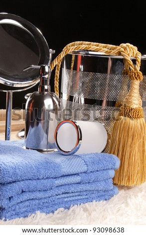 toilet accessories for the bathroom - stock photo